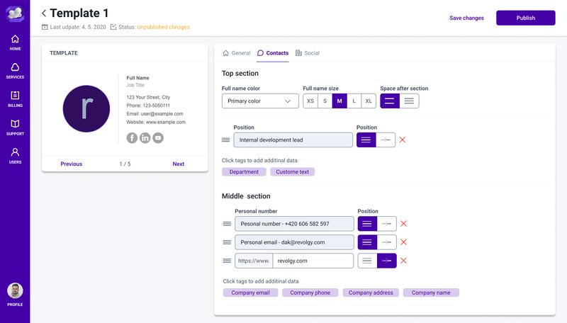 Revolgy Customer portal - MyServices - Signature management